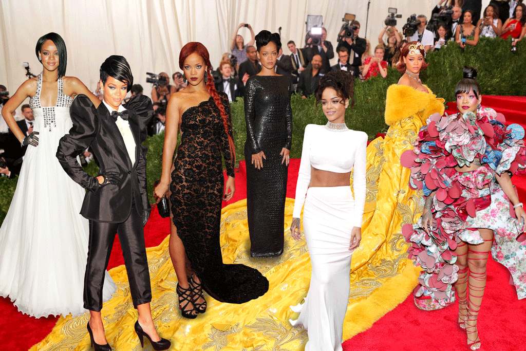 Rihanna at the Met Gala throughout the years